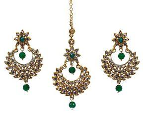 Kundan-Pearl-Indian-Wedding-Maang-Tikka-Earring-Head-Jewelry-Matha-Patti-Women