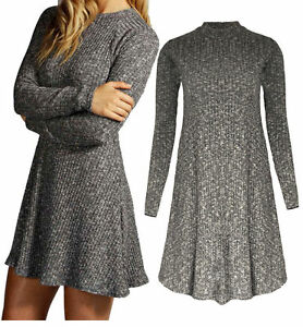 Womens Ladies Ribbed Top Knitted Turtle Neck Sleeves Swing Skater Tunic Dress