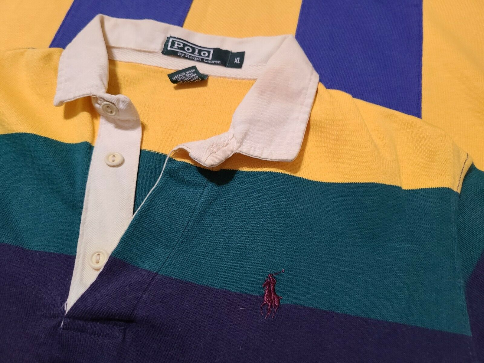 2 Vintage 80s Ralph Lauren Rugby Polo Striped Cot… - image 3