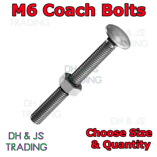 M6 Coach Bolts /& Nuts Cup Square Carriage Bolts With Hexagon Nut Hex Zinc Plated