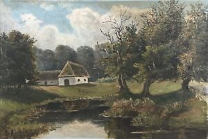 Oil-Painting-Old-Home-at-the-Edge-of-Forest-Nature-Pond-Flawed-16-7-8x24-5-8in
