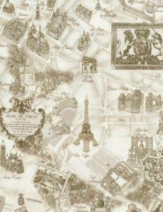 Timeless Treasures Tres Jolie Paris Map paris-C2812-Cream Cotton Fabric BTY