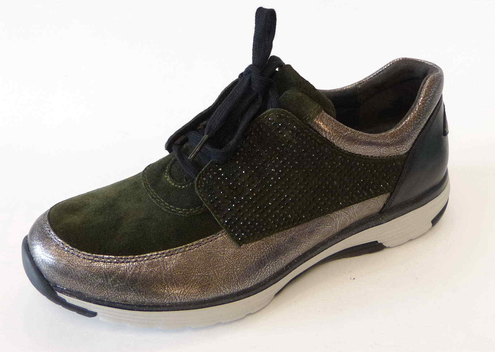 Gabor Soft Comfort Roling Sneaker Soft Gabor Schnür Sport bottel grün schwarz Nubuk 974 34 911538