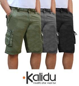Bermuda-Uomo-Cargo-Pantalone-corto-Tasconi-Laterali-Shorts-Cotone-Nero-Verde