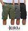 Bermuda-Uomo-Cargo-Pantalone-corto-Tasconi-Laterali-Shorts-Cotone-Nero-Verde miniatura 1