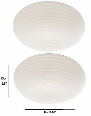 Set of 2 Flush Mount Ceiling Lamp Light Stripped Artcraft Glass Dia 15.75''