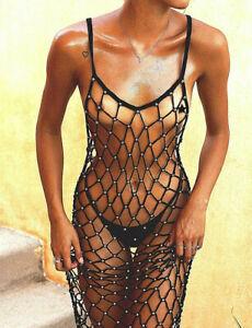 Sexy-Strandkleid-Haekelkleid-in-schwarz-mit-silbernen-Perlen-Boho-Ibiza-One-Size