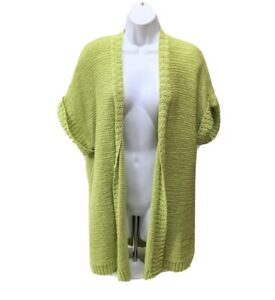 Chicos-3-Open-Front-Cardigan-Sweater-Short-Sleeve-XL-Green-Knit-Top