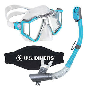 U-S-Divers-Lux-Mask-Snorkel-Combo-w-Mount-Compatible-with-GoPro-Cameras-Aqua