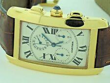 Mens Cartier Tank Americaine American Chronograph Chronoflex 18K Solid Gold