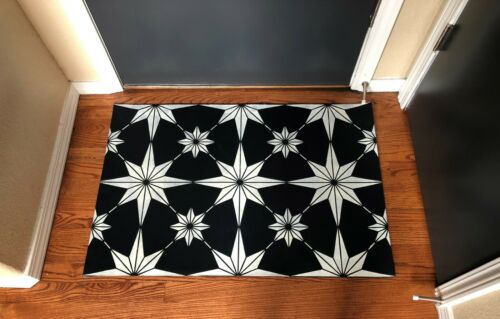 "Floorcloth 2/' x 3/' /""LUMINOSO/"" Black Hand Crafted Vintage Tile Area Rug"