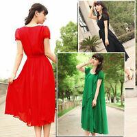 NEW WOMENS VINTAGE MAXI CHIC CHIFFON LONG BALL PARTY IRREGULAR EVENING DRESS