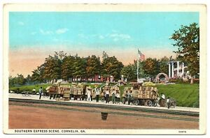 Cornelia-Georgia-Postcard-Southern-Express-Scene-Wagon-Loads-Of-Cargo-83106
