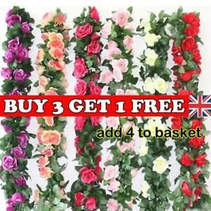 2-X-8Ft-Artificial-Rose-Garland-Silk-Flower-Vine-Ivy-Garden-String-Decor-hot-hhh