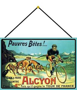 Tour-de-France-Alcyon-Tin-Sign-Shield-with-Cord-7-7-8x11-13-16in-FA0279-K