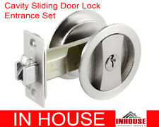 Delf Cavity Sliding Door Privacy Set 70188SN Square Edge Satin Nickel