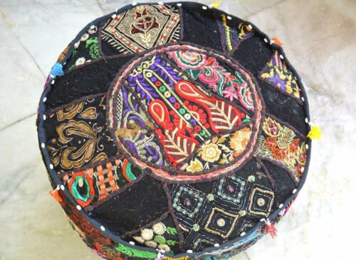 Indian Ottoman Pouffe Cover Black Embroidered Patchwork Cotton Footstool Beanbag