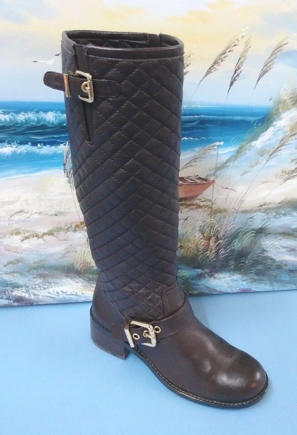Vince Camuto Tall Dark Brown Leather Side Zip Harness Boots Women's Size 7 M