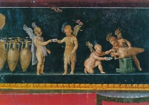 alte-AK-Pompei-Casa-dei-Vetti-Amorini-vinai-ungelaufen-Ansichtskarte-B423b