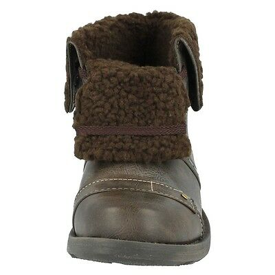 N2014 CUTIE QT BOYS DARK BROWN FUR LINED WINTER ANKLE BOOTS LACE UP SHOES