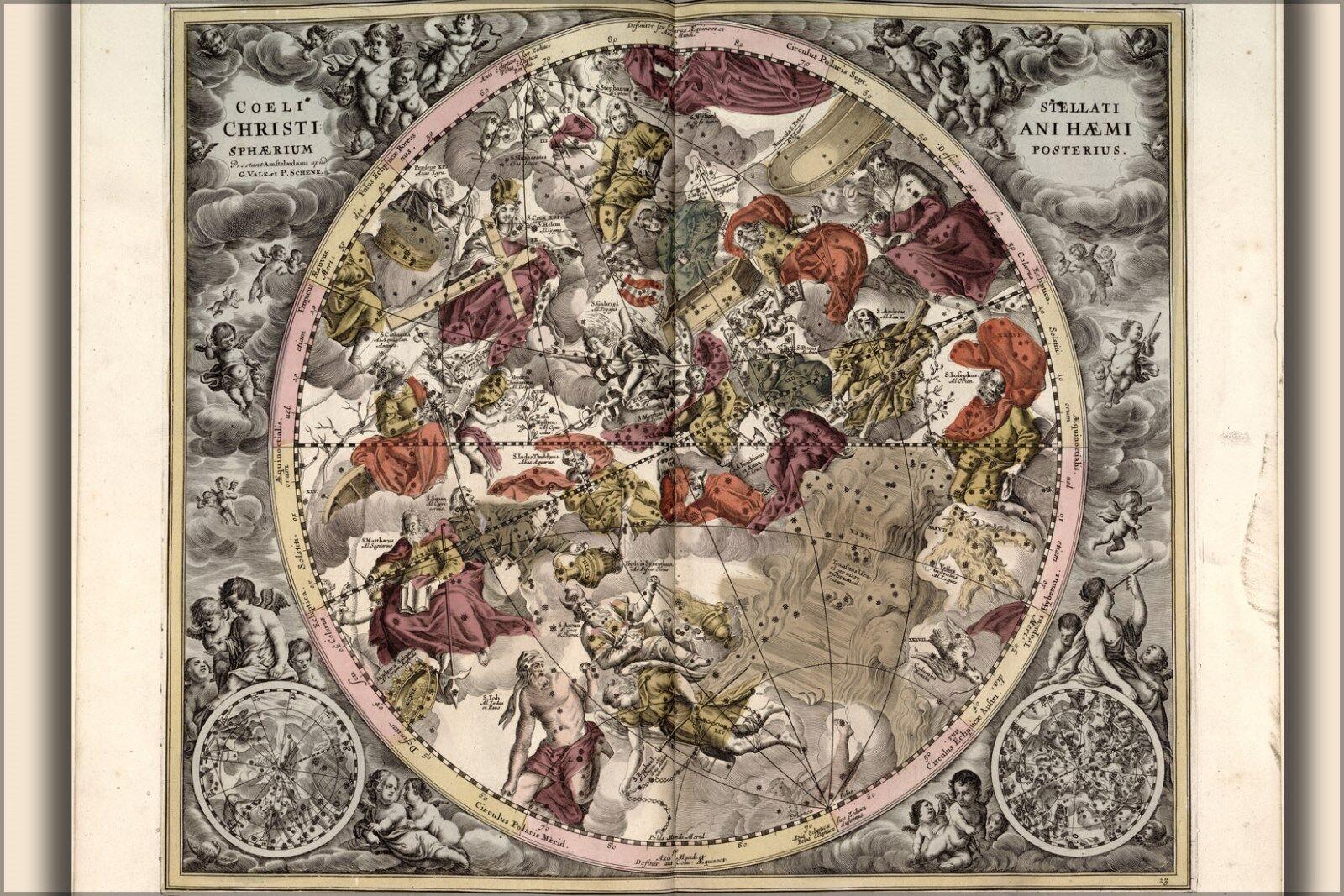 Plakat, Viele Größen; Karte n Konstellationen Sternzeichen Astrologie 1708 P2