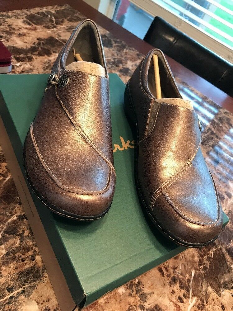 Clarks Collection Ashland Lane Flats Buttons Metallic Leder Slip On Schuhes 10N