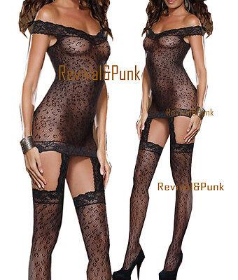 Black Sexy Adult Leopard Fishnet Body Stocking Dress Lingerie Babydoll garters