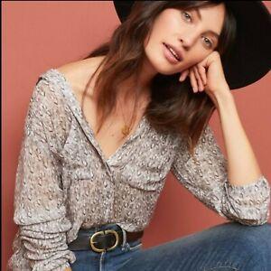 Anthropologie-Cloth-amp-Stone-Tavira-Gray-Floral-Buttondown-Blouse-Top-Size-S