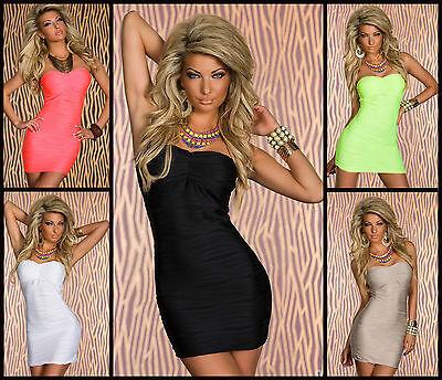 KLEID Bandeau-Minikleid Cocktailkleid Party Clubwear 8 FARBEN Gr 34/36/38