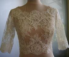 New Wedding Top Bolero Jacket Lace White/Ivory Size 2 4 6 8 10 12 14 16 18 20+