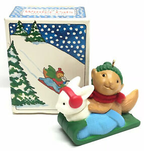 Vintage-1984-AVON-Christmas-Ornament-WINTER-PALS-Bunny-Rabbit-amp-Squirrel-on-Sled