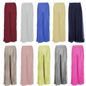 Mujer Italiana En Capas Peculiar Capa 100 Seda Puffball Palazzo Pantalones Pantalones Ebay