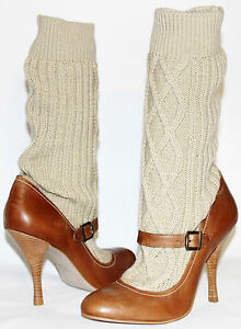 ???LUICHINY Annabel Tabacco Leather Mary-Jane Pump Sweater Boot 10 M NEW! L@@K!C6