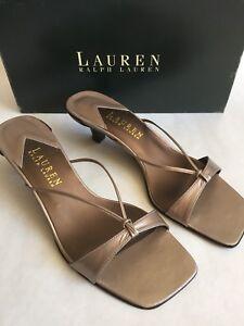 Ralph-Lauren-Gunmetal-Metallic-Slip-On-Sandals-Slides-Heel-7-5-B-Renee-Kitten