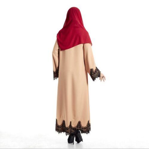 Femmes musulmanes en Dentelle Ouvert Avant Dubaï Cardigan Robe Islamique Robe Maxi Caftan Abaya