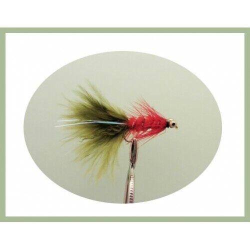Taglia 10 ganci confezione da 18 Pesca Mosche Humongous Trote Mosche colori misti Lure