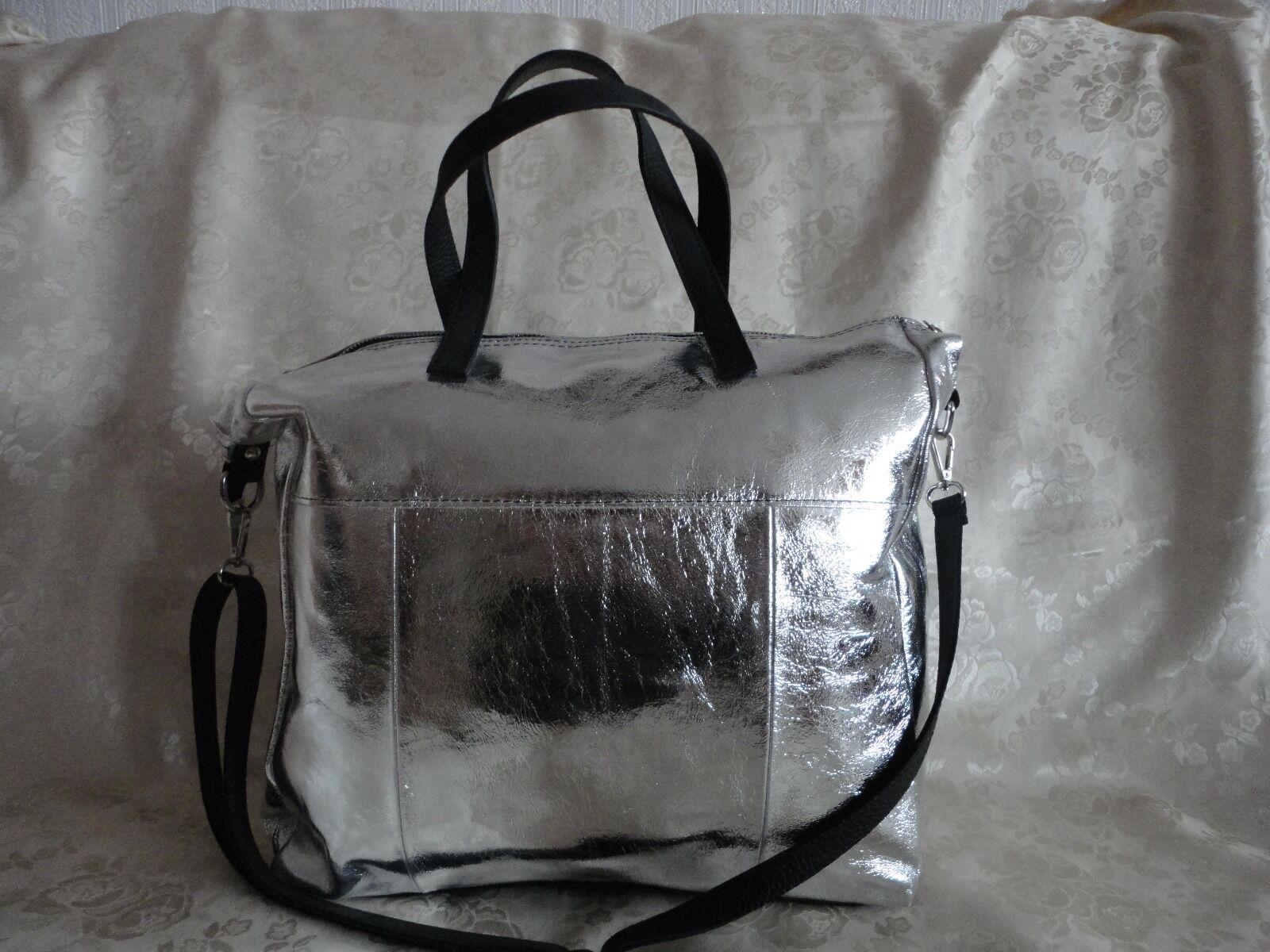 Tasche Leder NEU NEU NEU Schultertasche Beuteltasche Bag Siber Metallic afbc9a