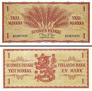 Finland P-98 One Markkaa Year 1963 Uncirculated Banknote Europe