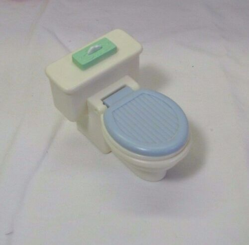 Rare BATHROOM TOILET FISHER PRICE Loving Family Dollhouse BLUE Lid really opens!