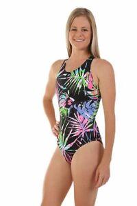 Nova Swimwear Ladies Sport Back Racer Jungle 1 Piece Chlorine Resistant Swimsuit