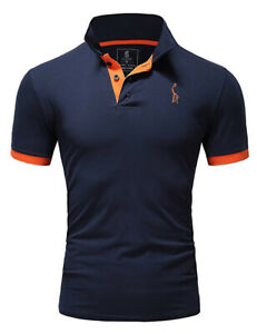 New-Mens-Polo-Shirt-T-Shirt-Top-Short-Sleeve-Contrast-Colours-S-M-L-XL-PL05