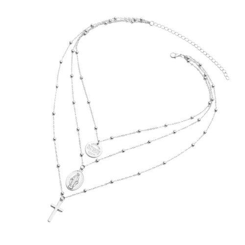 catenina a croce a tre fili ciondolo gesù ciondolo donna collana argento