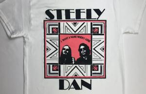 Vintage Steely Dan Tour Short SLeeve Cotton Black Men Reprint Gildan T Shirt