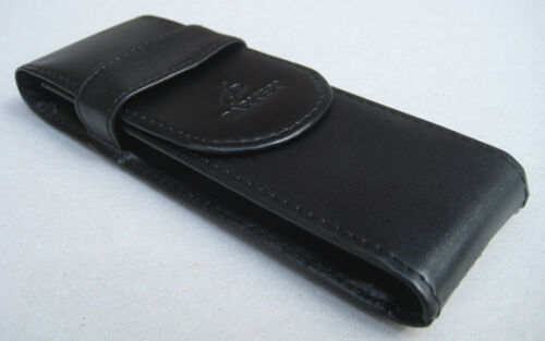 Parker Leather Double Pen Case Black Twin Pen Wallet Holder With Parker Logo