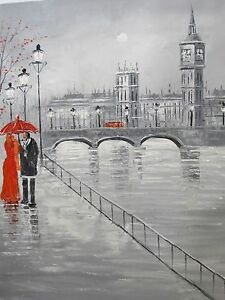 Image Is Loading Romantic Black White Red London England Large Oil
