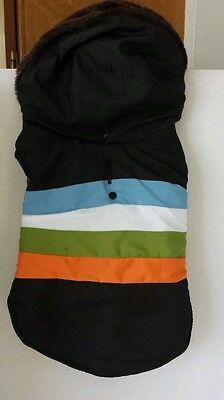 Nylon Dog Coat Med 14 to15in Peke Pomeranian Basenji RN 52469 Black Stripes Hood
