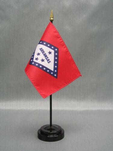 "ARKANSAS 4X6/"" TABLE TOP FLAG W// BASE NEW US STATE DESK TOP HANDHELD STICK FLAG"