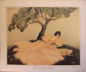 art-print-HE-LOVES-ME-LOVES-ME-NOT-Lamour-deco-Lady-woman-daisies-vtg-repr-24x20