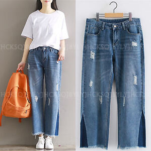 Nine-Points-Frayed-Denim-Wide-Leg-Jeans-Overalls-Cropped-Pants-Trousers