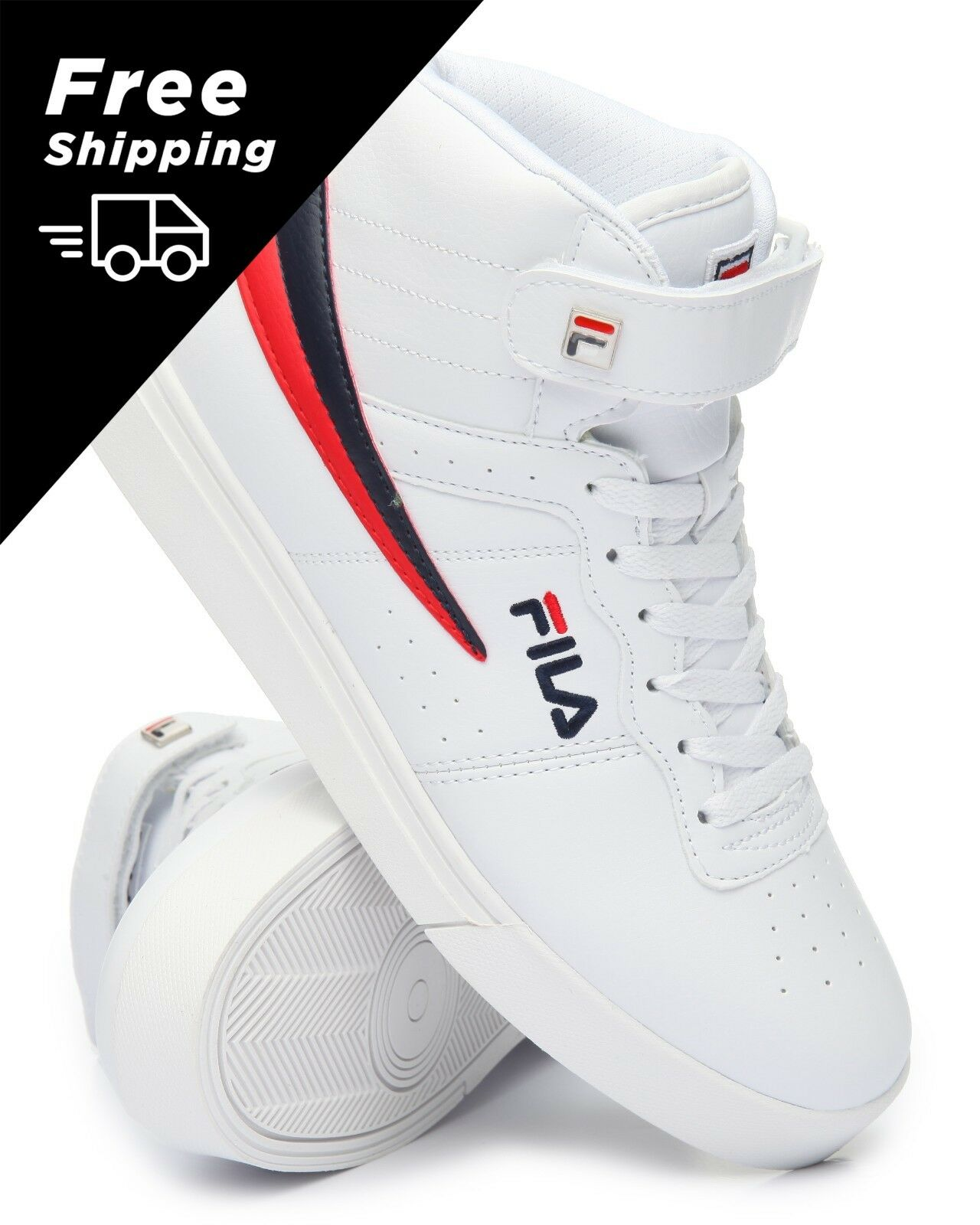 NEW 2018 MEN'S FILA VULC 13 MID PLUS WHITE RED blueE CLASSIC HIGH TOP SNEAKERS